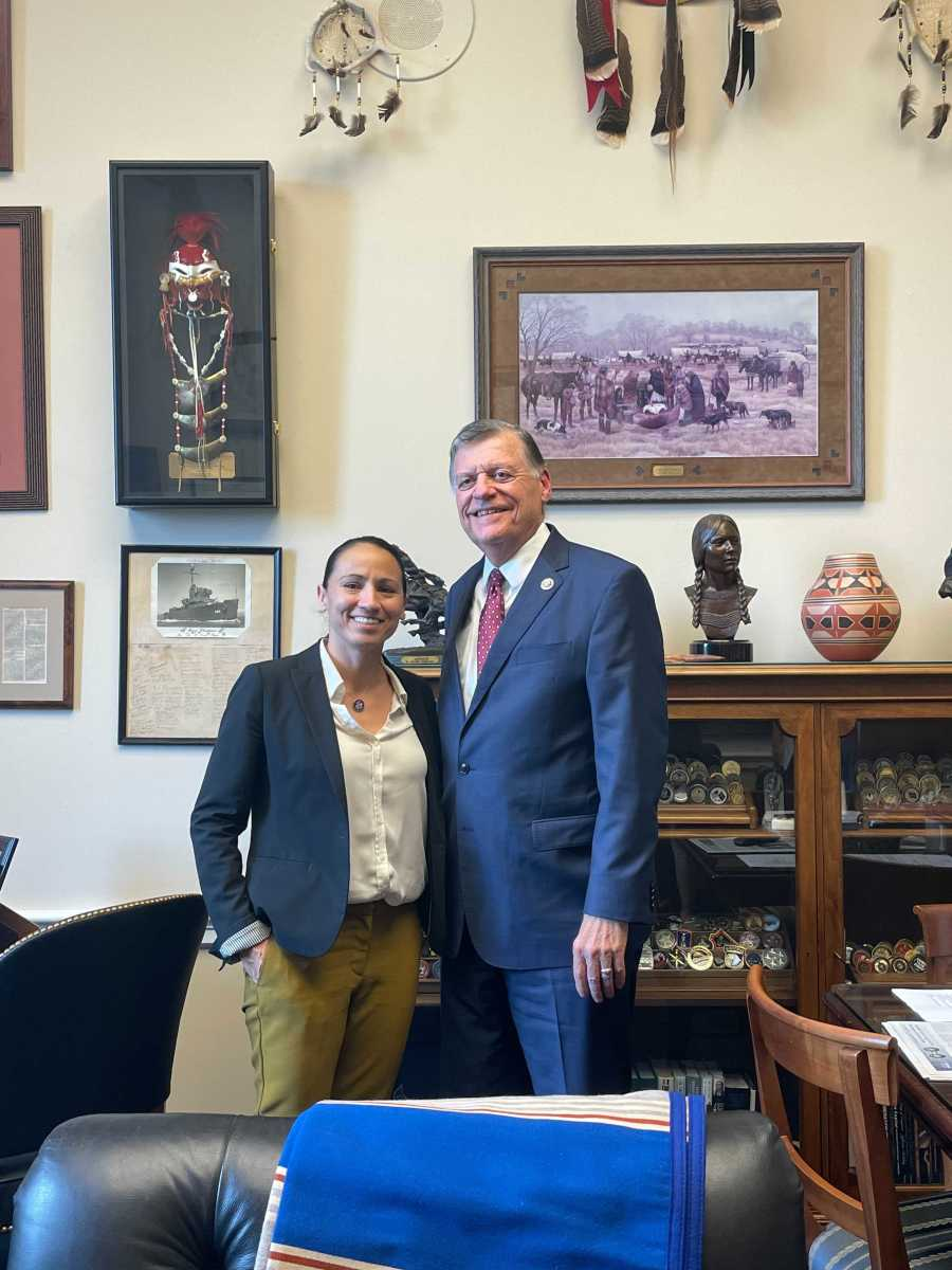 Left to right: Reps. Sharice Davids and Tom Cole pose for a photo on June 25, 2021. (Photo courtesy of Davids Congressional office)