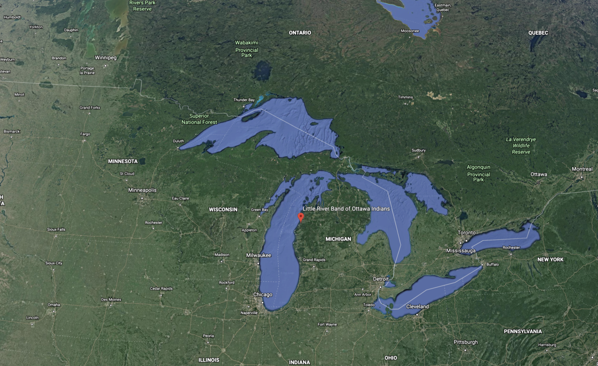 OCEAN STORY: Google Earth image of the location of the Little River Band of Ottawa Indians lands.
