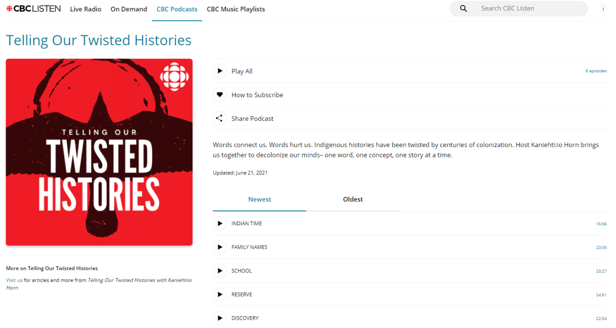 Twisted Histories on CBC - website screen capture