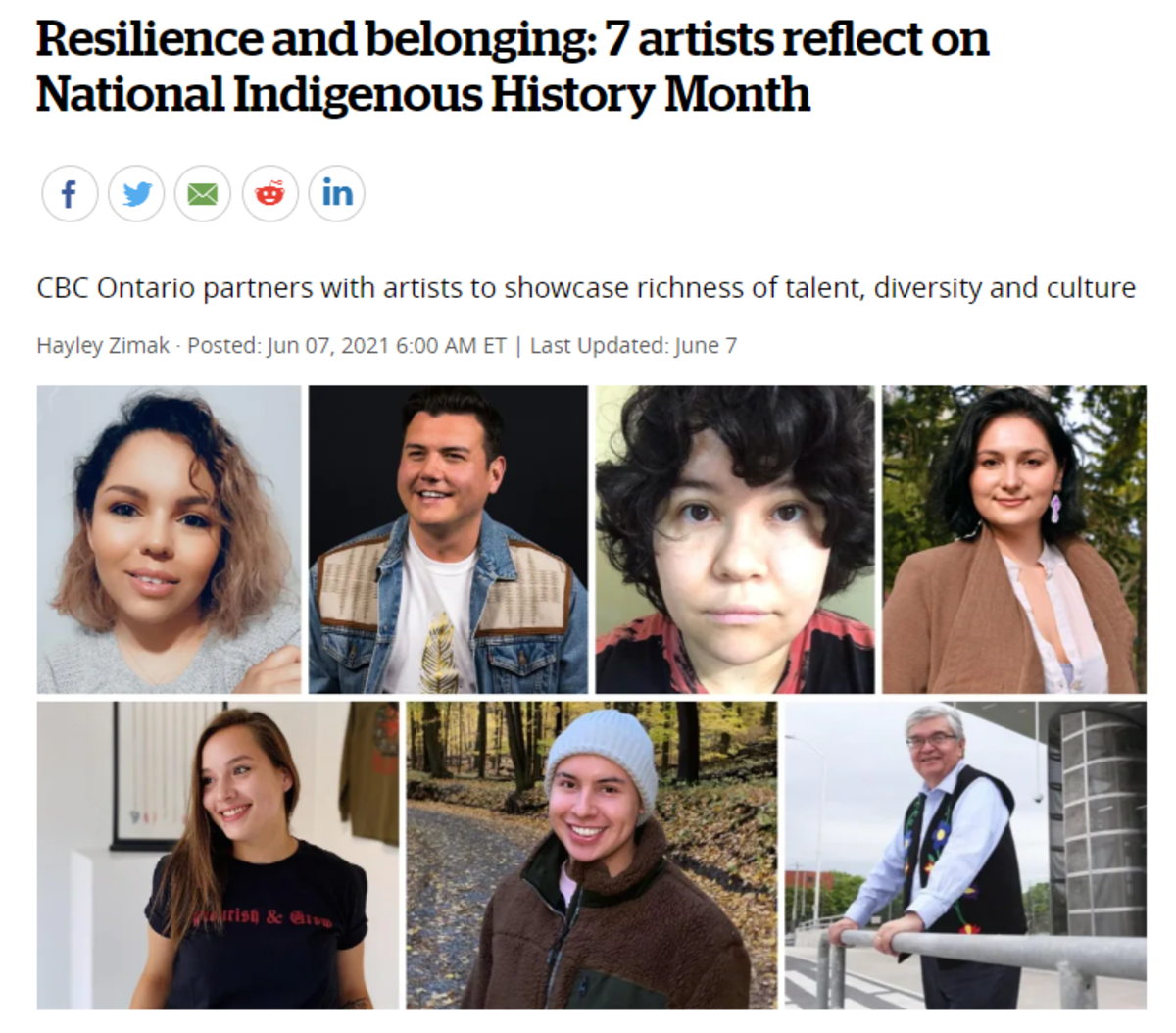 """CBC Ontario's article, """"Resilience and belonging"""" - website screen capture"""