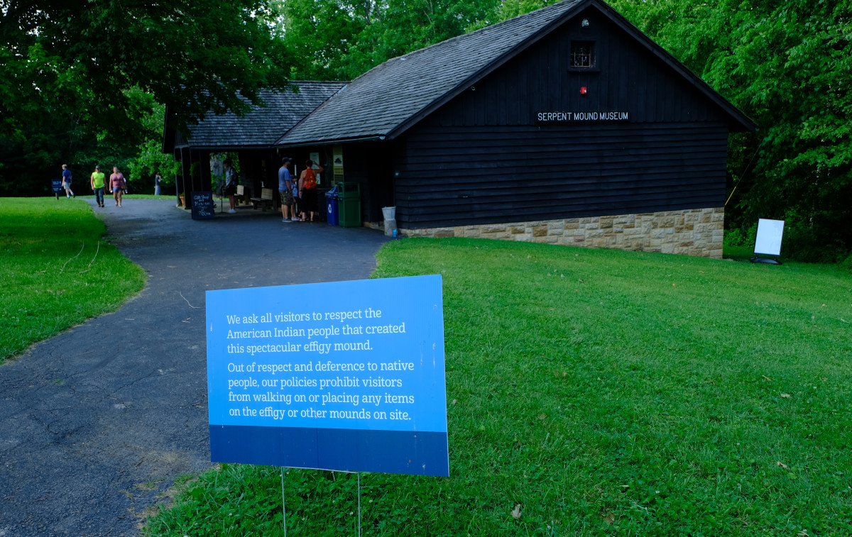 Signage at the Serpent Mound park in Peebles, Ohio reminds visitors to stay off the mound. (Photo by Mary Annette Pember)