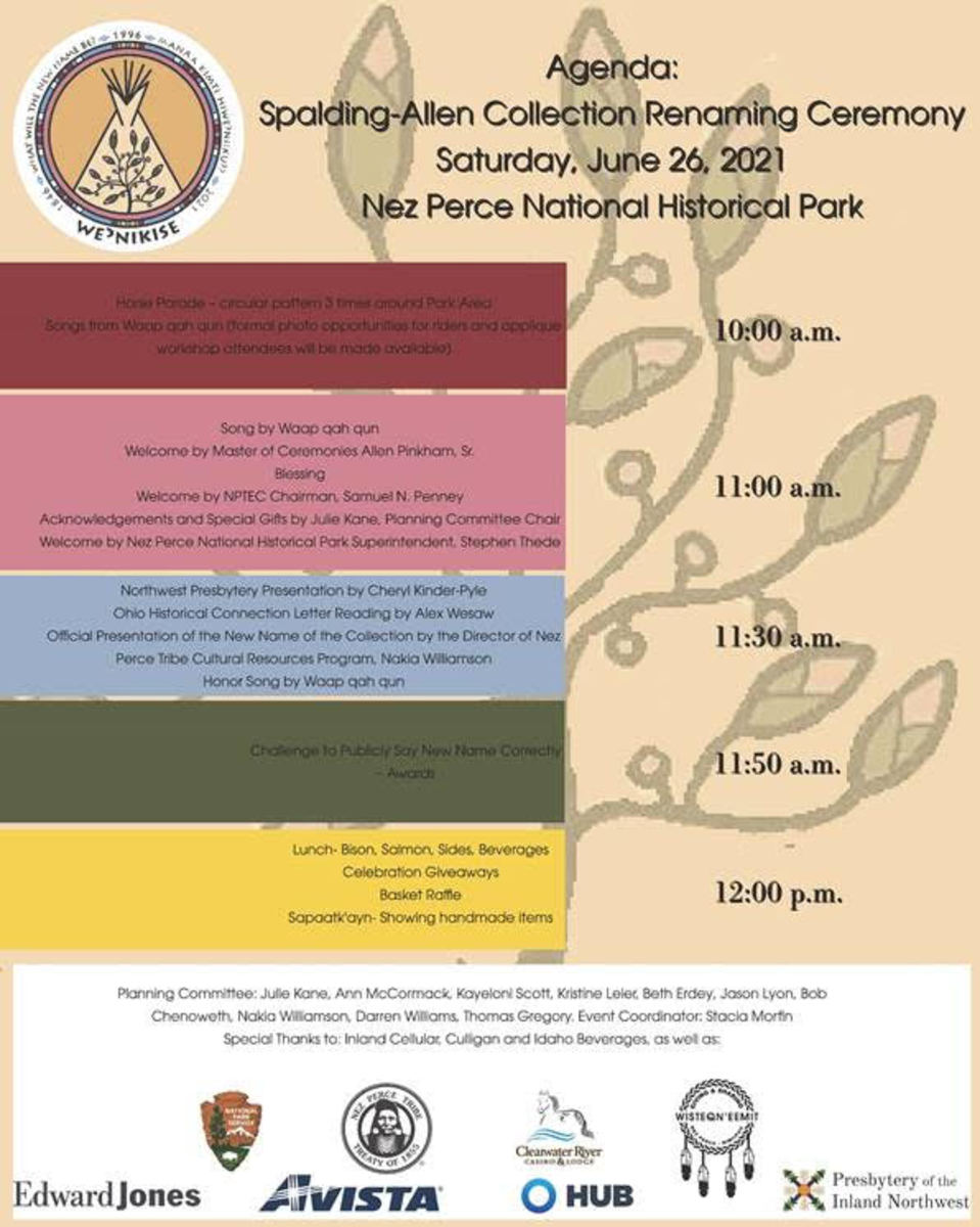 Pictured: The agenda for the Spalding-Allen Collection Renaming Ceremony to be held June 26 in Nez Perce National Park.