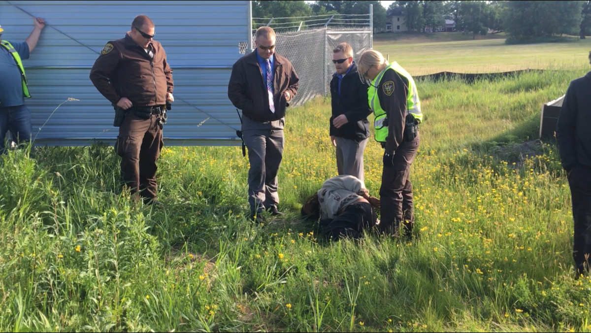 One land defender was arrested for trespassing at the Red Lake Treaty Camp in northern Minnesota on June 22, 2021 as efforts grow to stop the construction of Enbridge's Line 3 pipeline. (Photo courtesy of Indigenous Environmental Network)