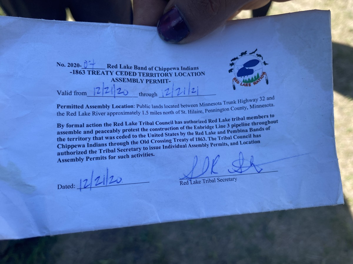 A permit from the Red Lake Tribal Council authorizes the Red Lake Treaty Camp through Dec. 21, 2021. (Photo courtesy of the Indigenous Environmental Network)