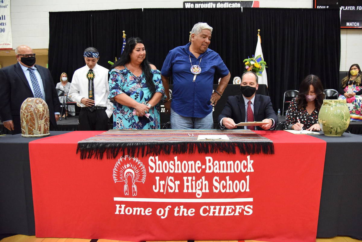 Pictured: In the foreground from left to right: Juan Alvarez, Alonzo Sonnip, Becki Ingawanup, Ladd Edmo, John Wagner, Jennifer Jackson and in the background from left to right: Debbie Critchfield, Sunshine Shepherd.