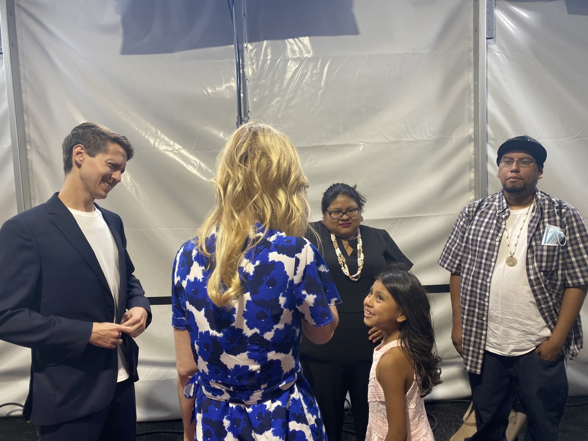 Amaya Juan, Tohono O'odham, with her parents and the director, Jefferson Stein, before the Burros screening at Tribeca Festival on June 18, 2021. (Photo courtesy of Carina Dominguez, Indian Country Today)