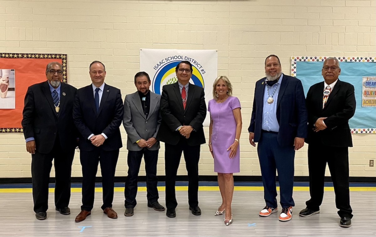 Pictured: Arizona tribal leaders with U.S. Second Gentleman Douglas Emhoff and U.S. First Lady Jill Biden at Isaac Middle School in Phoenix, Arizona on June 30, 2021.