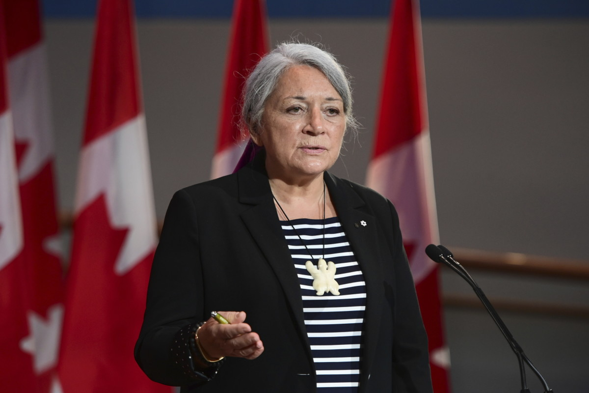 Mary Simon speaks during an announcement at the Canadian Museum of History in Gatineau, Quebec, on Tuesday, July 6, 2021. Simon, an Inuk leader and former Canadian diplomat, has been named as Canada's next governor general — the first Indigenous person to serve in the role. (Sean Kilpatrick/The Canadian Press via AP)