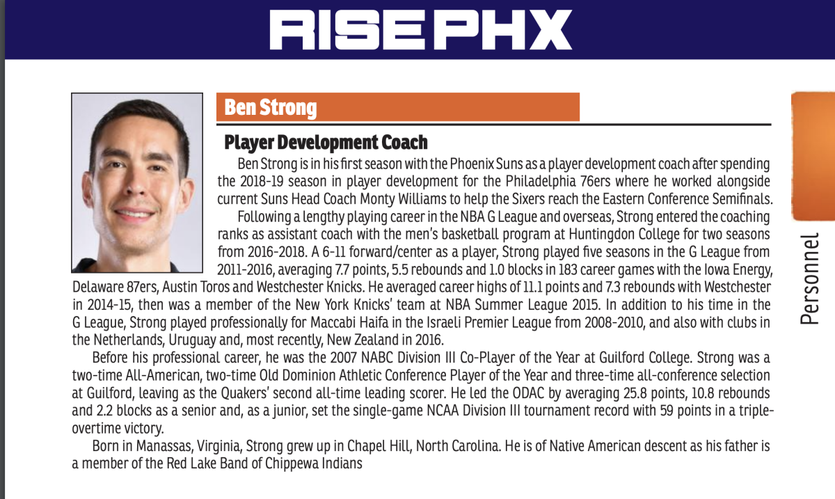 Ben Strong listed in the 2021 Phoenix Suns media guide.