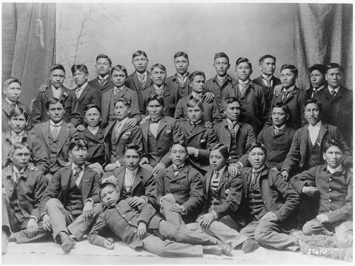 Chiricahua Apaches at the Carlisle Indian School in Pennsylvania, after four months of training in the late 1800s. (Photo courtesy of the Library of Congress)