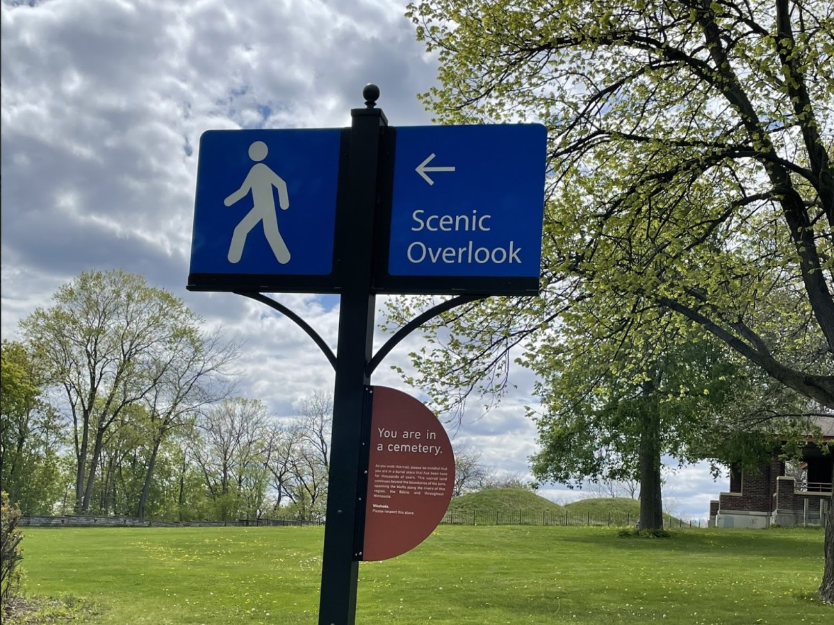 """Added signage to existing posts that says, """"You are in a cemetery."""" (Photo courtesy of Sam Odegard)"""
