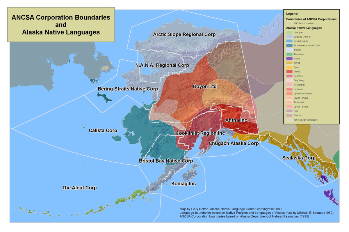 Alaska Native corporation land boundaries and the Alaska Native languages in their regions. The corporations correspond with traditional cultural groups, as shown by the map. (Map by Gary Holton, Alaska Native Language Center)