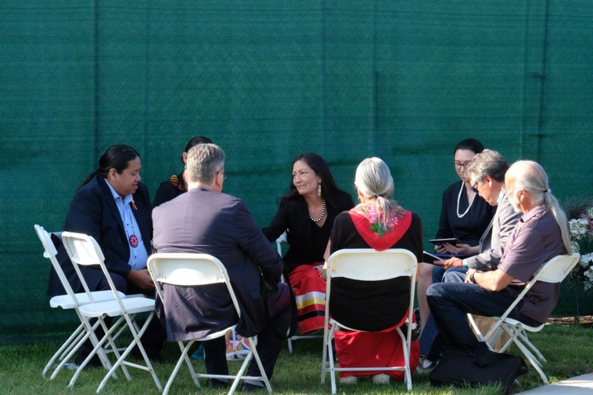 Interior Secretary Deb Haaland and others at a ceremony at the U.S. Army's Carlisle Barracks, in Carlisle, Pa., Wednesday, July 14, 2021. (Photo courtesy of Deb Haaland's Twitter page)