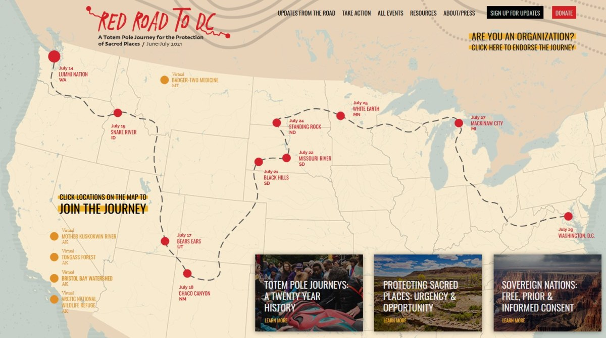 Pictured: A map of Red Road to DC tour dates from their website.