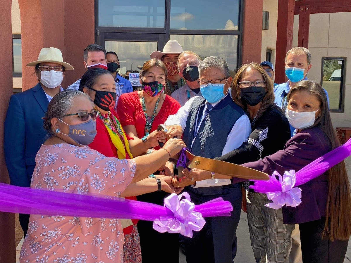 Pictured: Navajo Nation Vice President Myron Lizer, Council Delegates Amber Kanazbah Crotty and Nathaniel Brown, and partners mark the reopening of the Gentle Ironhawk Shelter in Blanding, Utah on July 14, 2021.