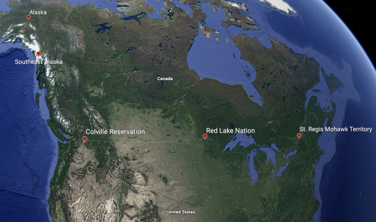 All along the U.S.-Canadian border tribes have been impacted by border closures. Here are the locations of just a few of them. (Screenshot of Google Earth image).