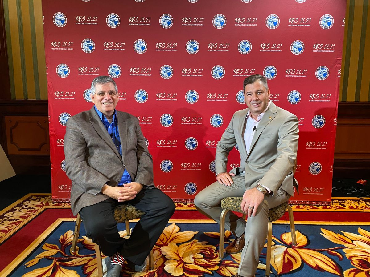 Mark Trahant interviews Chris James, president and CEO of the National Center of American Indian Enterprise Development, July 2021. (Photo by Aliyah Chavez, Indian Country Today)