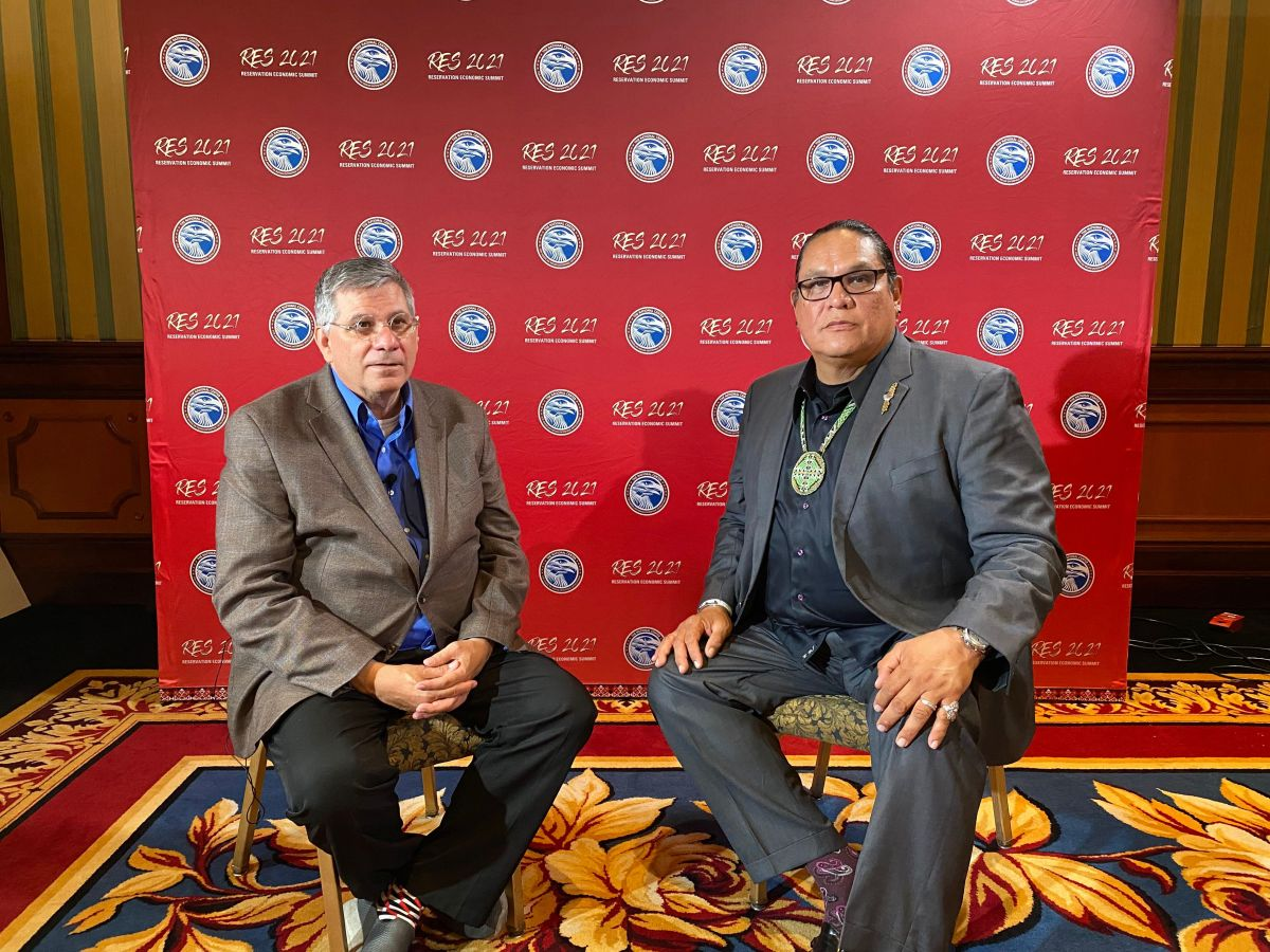 Mark Trahant interviews Ernie Stevens, Chairman of the National Indian Gaming Association, July 18, 2021. (Photo by Aliyah Chavez, Indian Country Today)