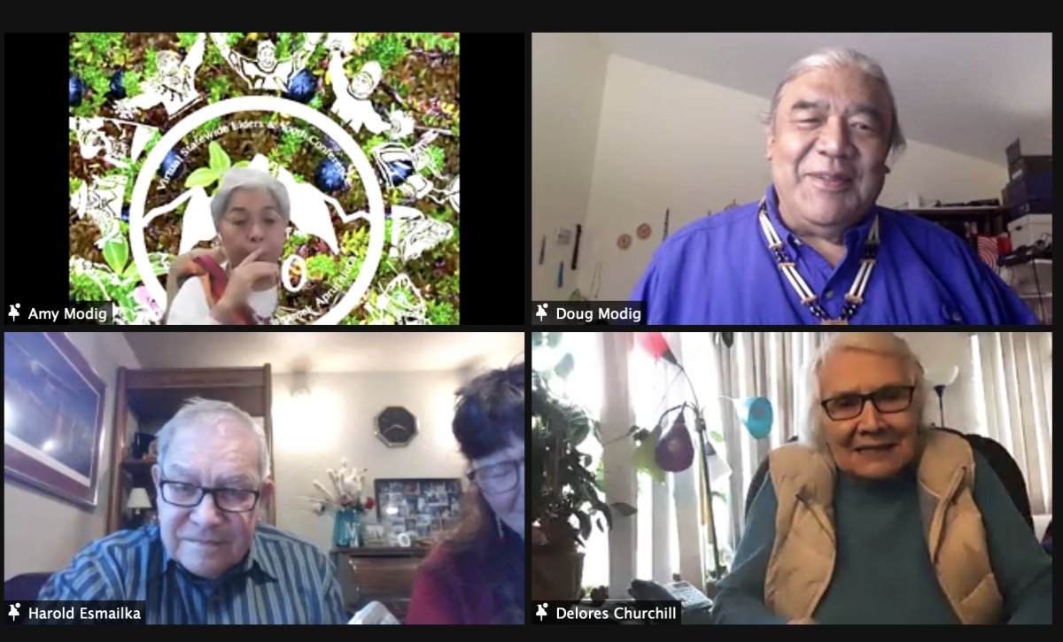 Pictured: Amy Modig, Deg Hit'an, and Doug Modig, Tsimshian,, pictured in top row, shared tips on how to be open to receiving traditional knowledge, while our two Elders, Harold Esmailka, Koyukon, and Delores Churchill, Haida, who are both in their 90s, pictured in bottom row, shared life lessons during the 2020 Warming of the Hands gathering.