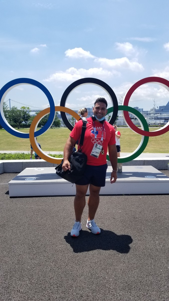 Alex Rose, who was born in Michigan of Polynesian descent, will compete for Samoa in discus-throwing and will carry the nation's flag in the opening ceremonies for the Tokyo Olympics in 2021. He also represented Samoa in the 2016 Olympic games in Rio de Janeiro. He is ranked seventh in the world in discus throw this year, and was a gold medalist in discus and silver medalist in shot put and hammer throw in the 2015 Pacific Games. (Photo courtesy of Alex Rose)