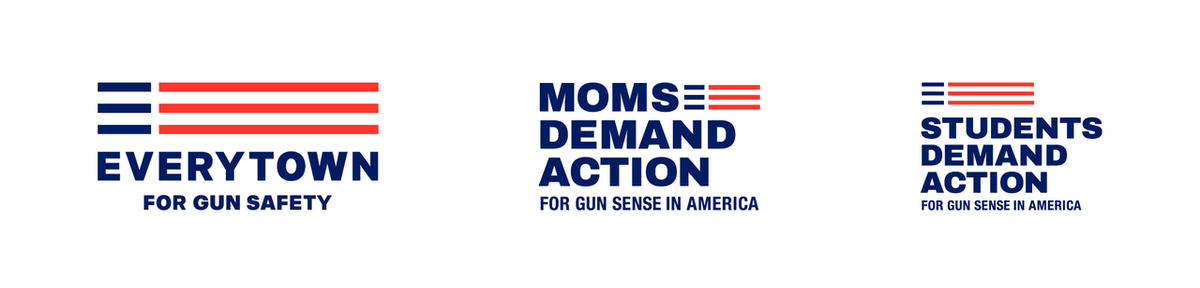 Everytown for Gun Safety, Moms, Demand Action, Students Demand Action - logos