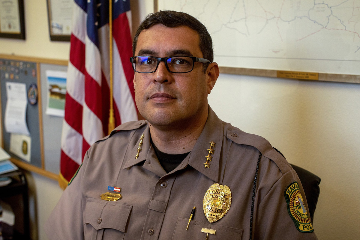 Since taking the position in 2016, Navajo Chief of Police Phillip Francisco has been a vocal advocate for upgrades in the department, which has 200 employees and dilapidated facilities. (Photo by Beth Wallis/News21)