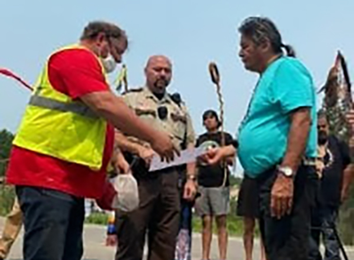 Pictured: White Earth tribal official Ray Auginash issued a cease and desist letter calling on Enbridge to halt construction at the Line 3 pipeline crossing near the Headwaters of the Mississippi river.