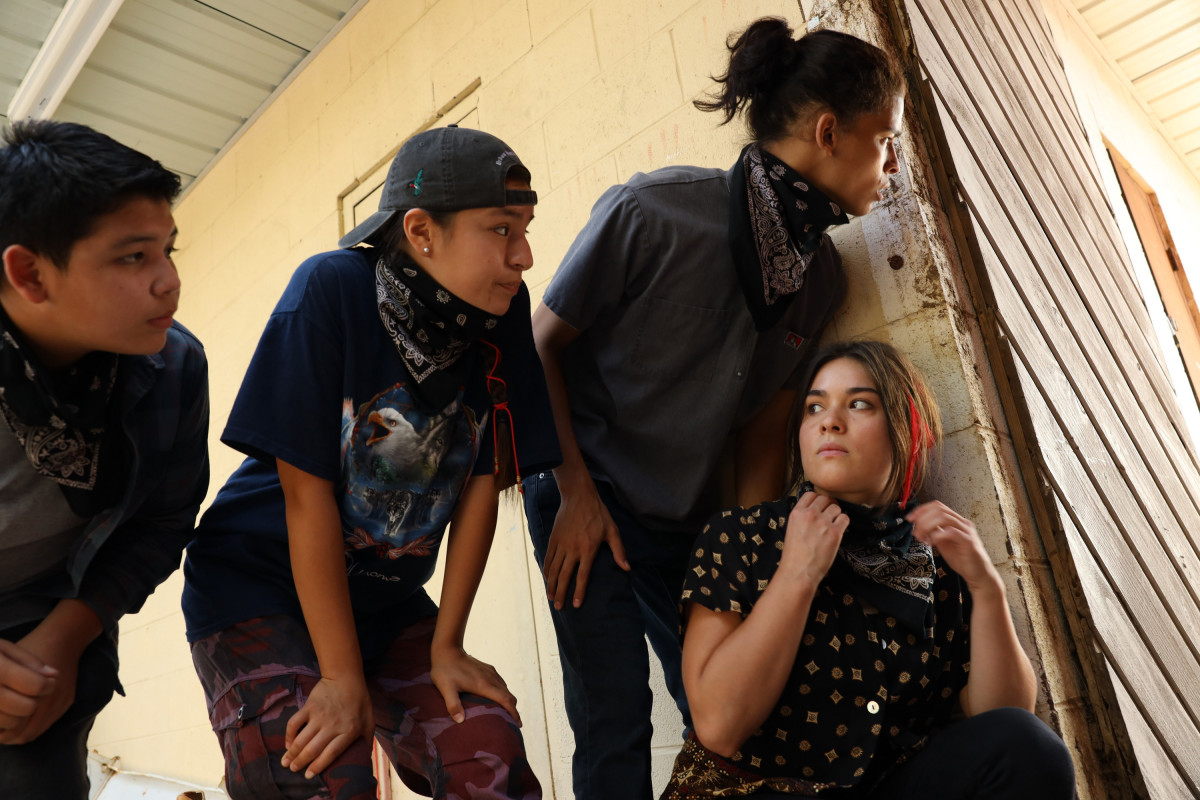 """RESERVATION DOGS """"Pilot"""" Episode 1 (Airs Monday, August 9) — Pictured: (l to r): Lane Factor as Cheese, Paulina Alexis as Willie Jack, D'Pharaoh Woon-A-Tai as Bear and Devery Jacobs as Elora Danan. (Credit FX)"""