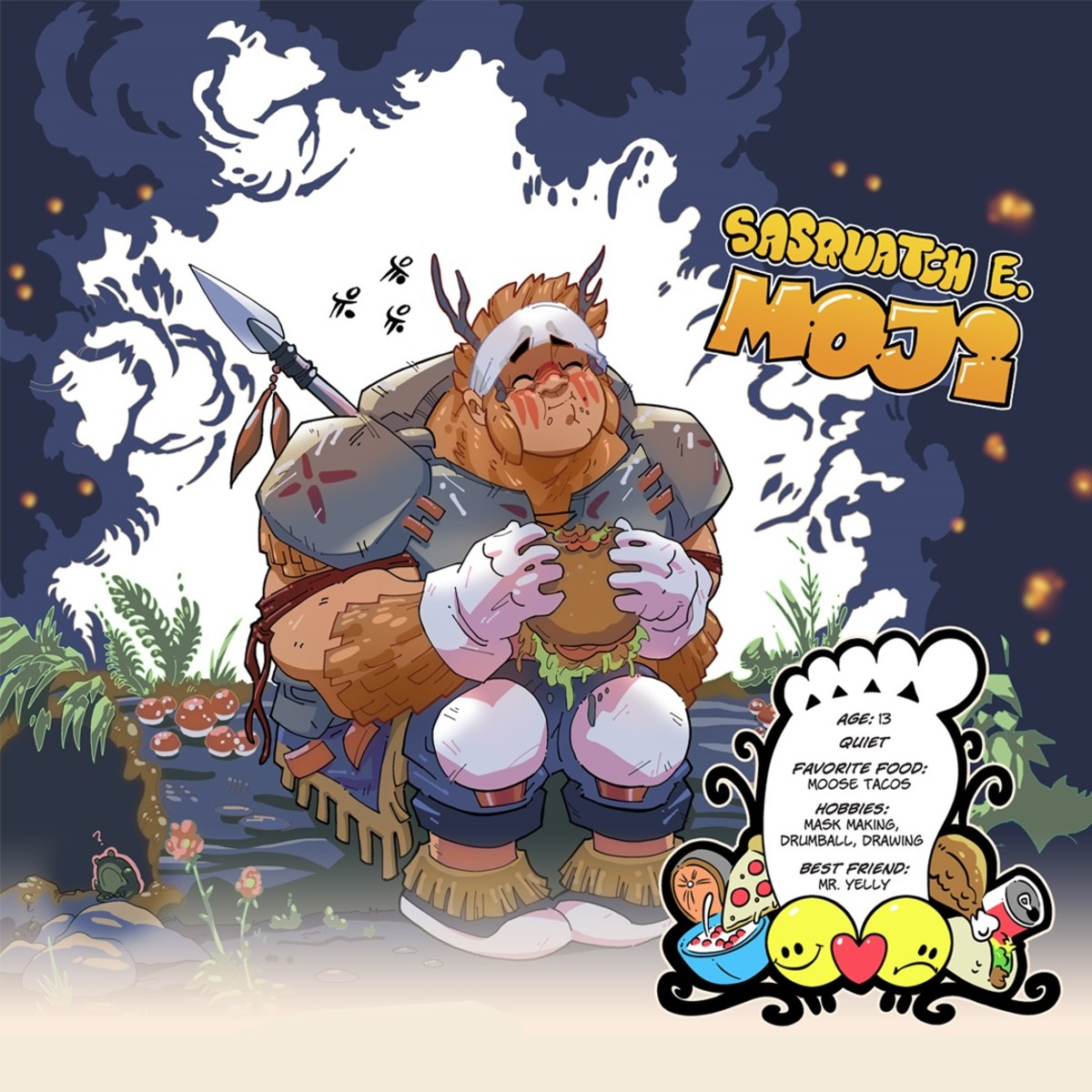 """Sasquatch E. Moji is one of two characters in a new graphic novel, """"Chickaloonies,"""" by writers/illustrators Dimi Macheras and Casey Silver. Sasquatch and his friend, Mr. Yelly, go on a quest to save their Ahtna Athabascan village while sharing their culture with the world. Macheras, who is Ahtna Athabascan, based the tale on those told by his grandmother. The book was released Aug. 1, 2021. (Photo courtesy of Dimi Macheras and Casey Silver)"""