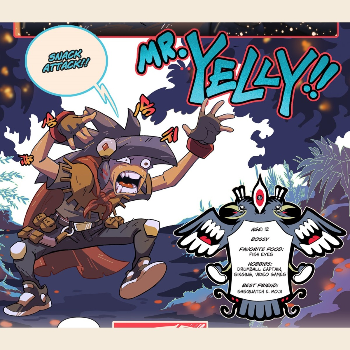 """Mr. Yelly is one of two characters in a new graphic novel, """"Chickaloonies,"""" by writers/illustrators Dimi Macheras and Casey Silver. Mr. Yelly and his friend, Sasquatch E. Moji, go on a quest to save their Ahtna Athabascan village while sharing their culture with the world. Macheras, who is Ahtna Athabascan, based the tale on those told by his grandmother. The book was released Aug. 1, 2021. (Photo courtesy of Dimi Macheras and Casey Silver)"""