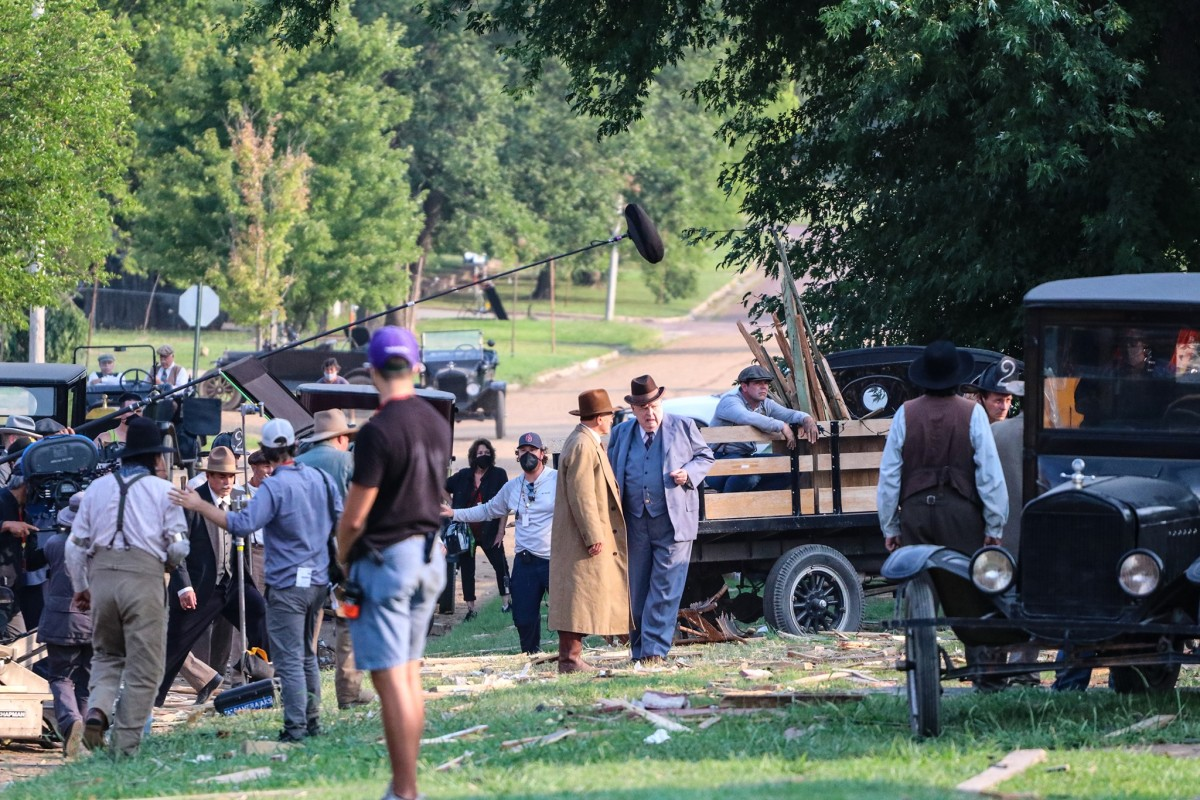 """Filming on the set of """"Killers of the Flower Moon"""" in Fairfax, Oklahoma. On Aug. 5, filming of the explosion aftermath. (Photo courtesy of Shannon Shaw Duty, Osage News)"""