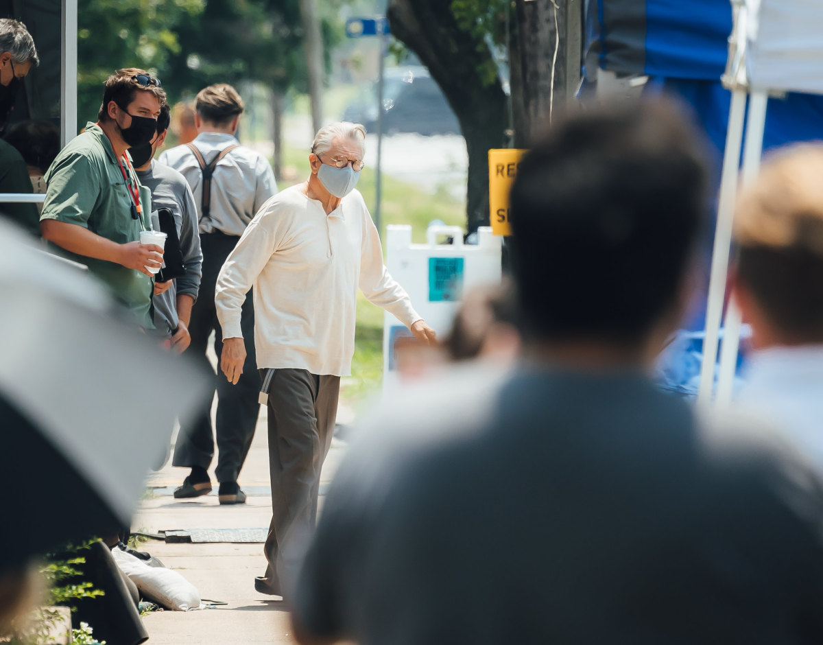 """Actor Robert De Niro on set of """"Killers of the Flower Moon."""" Filming is set to continue through mid-September. A release date for the film has yet to be publicized. (Photo courtesy of Cody Hammer, Osage News)"""