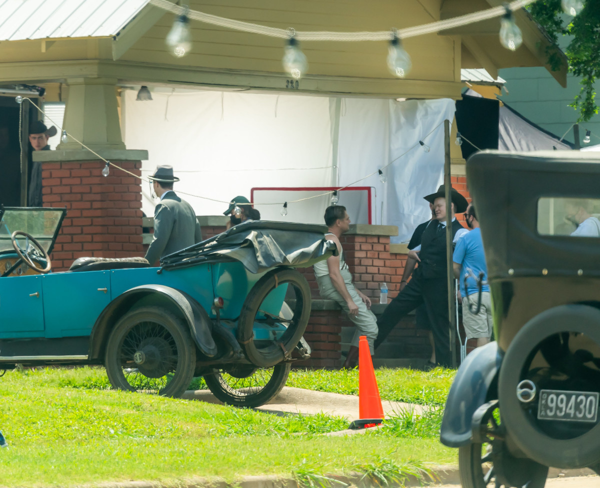 """Filming continues in Fairfax, Oklahoma on the set of the upcoming film, """"Killers of the Flower Moon."""" Director Martin Scorsese, lead actors Leonardo DiCaprio and Jesse Plemons were on set July 23, 2021. (Photo courtesy of Cody Hammer, Osage News)"""