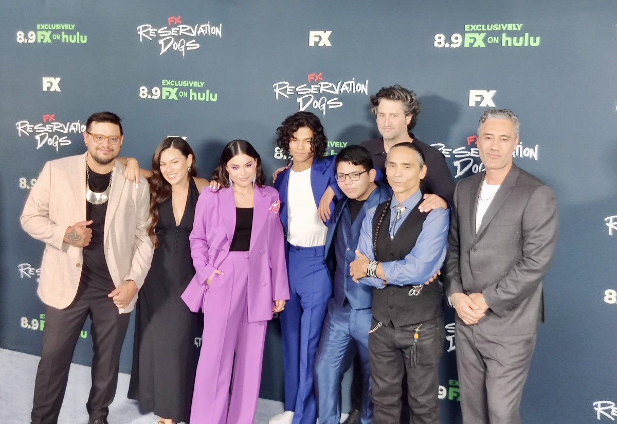 """""""Reservation Dogs"""" cast members and show creators at the premiere in Los Angeles on Aug. 5, 2021. (Photo by Max Montour, Indian Country Today)"""