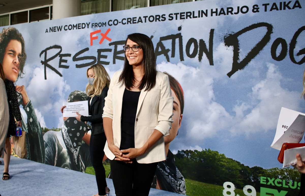 """Director Sydney Freeland, Navajo, at the premiere of """"Reservation Dogs"""" in Los Angeles on Aug. 5, 2021. Of the first episodes, two are directed by Freeland. (Photo by Max Montour, Indian Country Today)"""