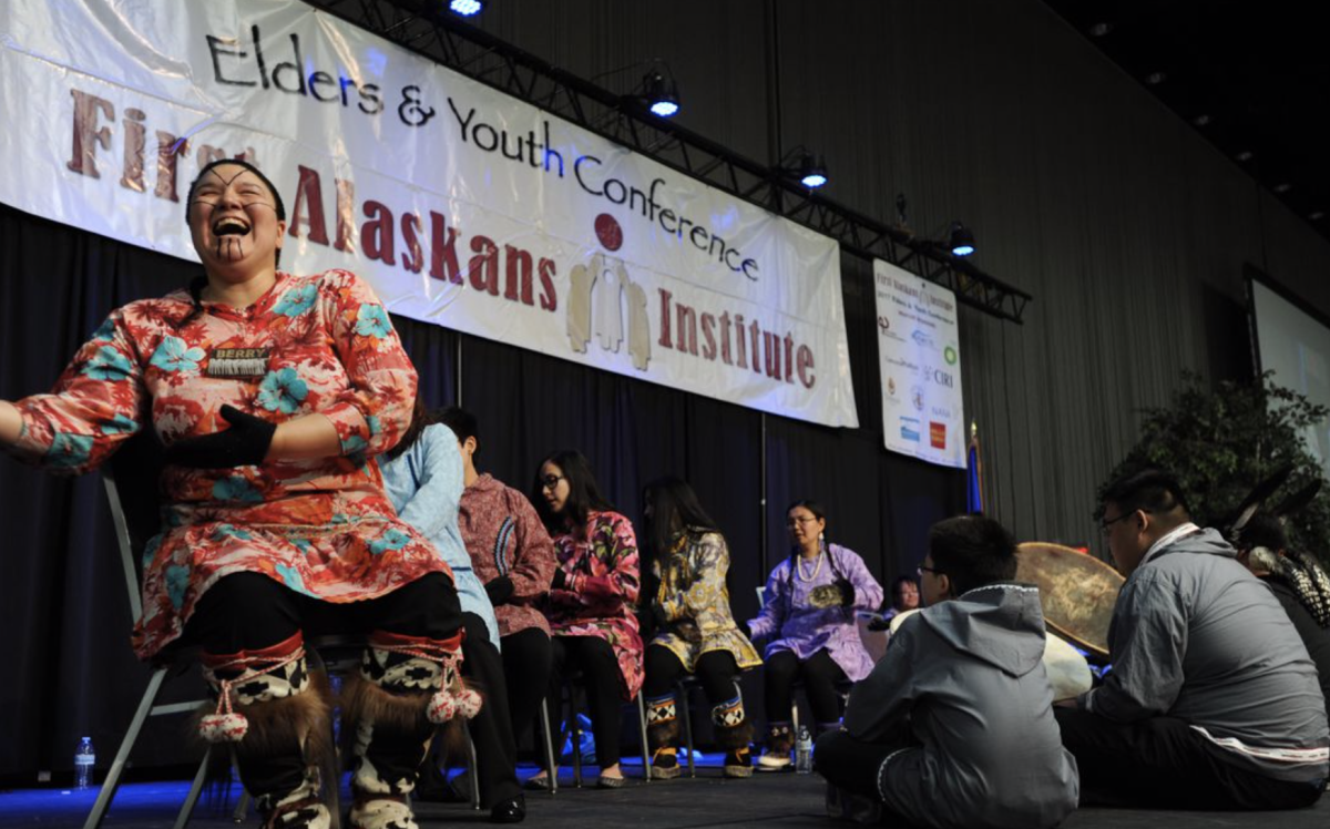 Kisaġvigmuit Traditional Dancers performing Inupiaq songs and dances during the annual Elders and Youth Conference.
