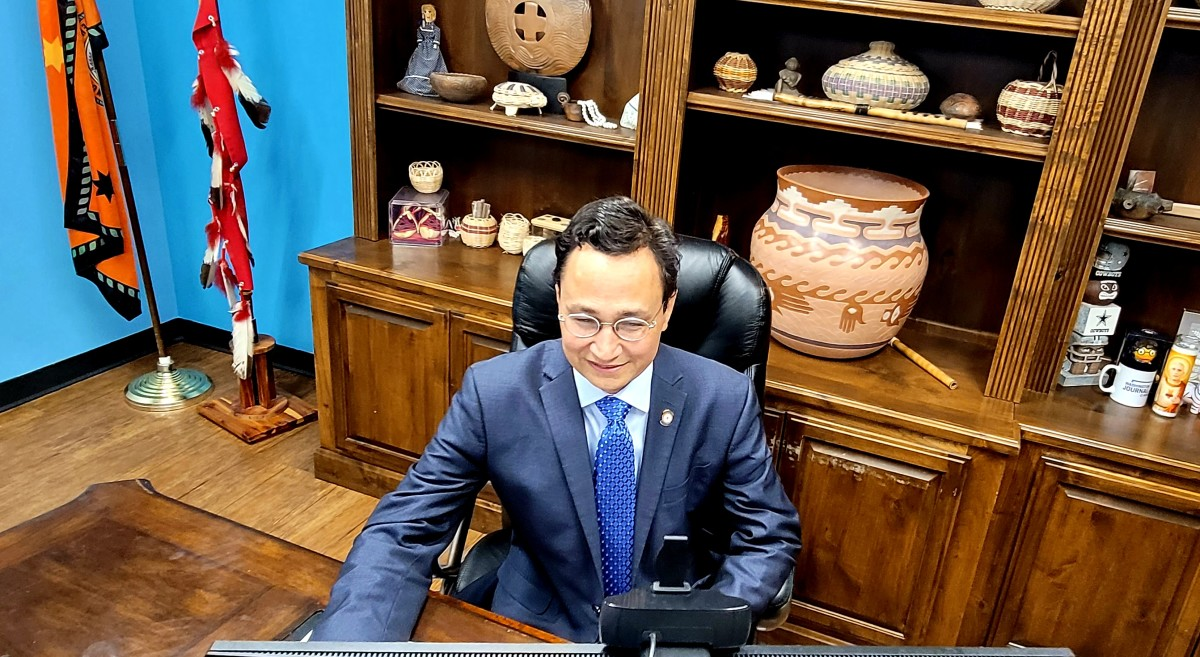 Cherokee Nation Principal Chief Chuck Hoskin, Jr. participates in a virtual meeting with President Joe Biden, governors, state leaders on the infrastructure investment bill on August 11, 2021. (Photo courtesy of Julie Hubbard, Cherokee Nation)