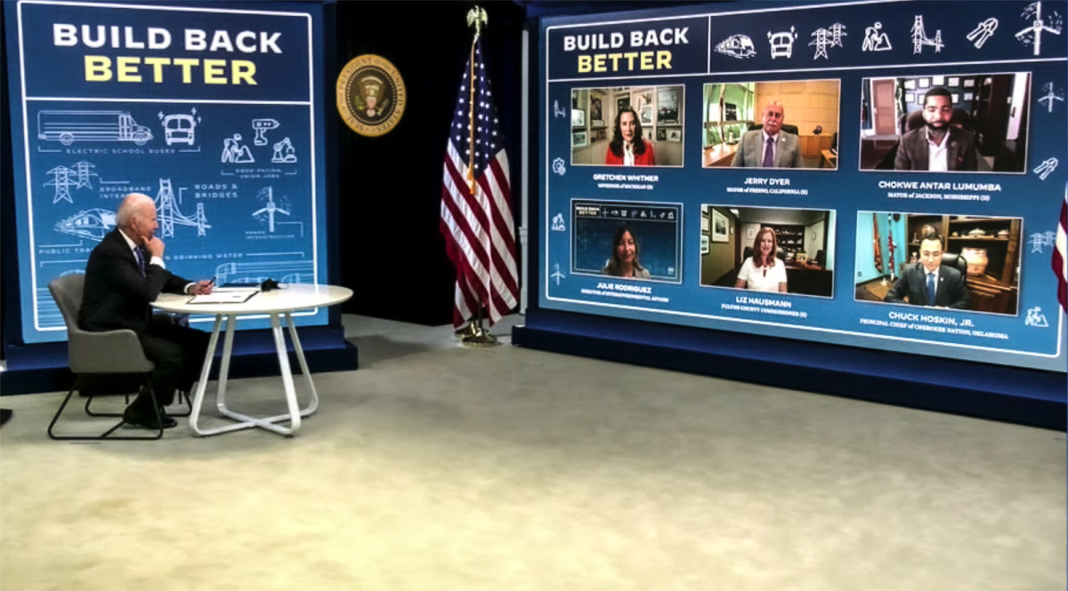 Pictured: Cherokee Nation Principal Chief Chuck Hoskin Jr. was among leaders who spoke with President Biden August 11 during a White House virtual meeting on the bipartisan Infrastructure Investment and Jobs Act.