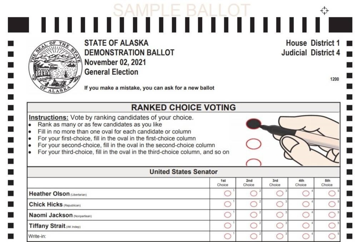 Alaska will be using ranked-choice voting starting with the 2022 elections, a move that could shift the balance of power from partisan primaries to undeclared and nonpartisan voters. Under the new system, partisan primaries will be replaced with an open primary for all voters, and voters can rank their preference for candidates in the general election. (Photo illustration courtesy of the Alaska Division of Elections)