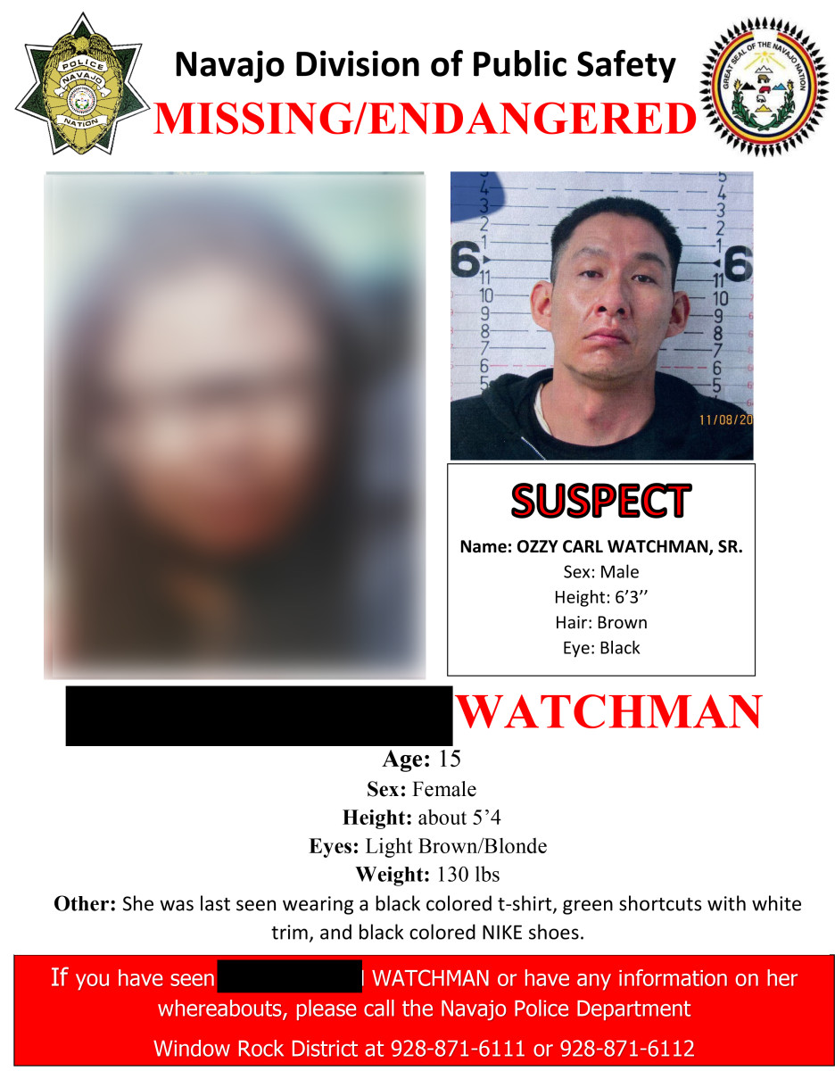 Convicted sex offender Ozzy Watchman Sr. abducted his daughter, for whom he does not have custody, on June 18, 2021, in Window Rock, Ariz. They were found 12 days later. Tribal authorities did not issue an Amber Alert, but did post this missing/endangered flyer on Facebook. (Navajo Division of Public Safety via Howard Center for Investigative Journalism)