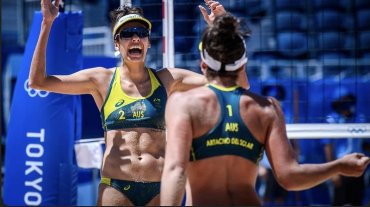 Taliqua Clancy, left, and her beach volleyball partner Mariafe Artacho del Solar won silver medals for Australia in beach volleyball after fighting the U.S. team in the finals. Clancy, of Wulli Wulli and Goreng Goreng descent, is one of at least 25 Indigenous athletes who won medals in the Tokyo Olympics. (Photo courtesy of Volleyball World)