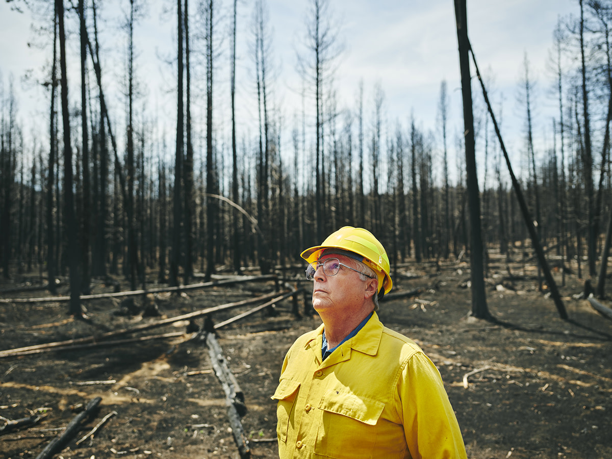 Don Gentry, Klamath Tribes Chairman, looks at the charred remains of Klamath ancestral lands burned in the Bootleg Fire. (Leah Nash/Underscore.news)