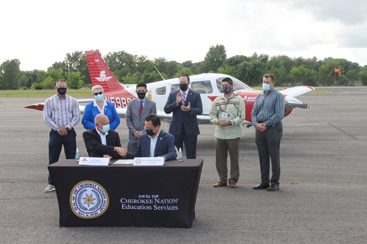 Pictured: Officials from Cherokee Nation and the Spartan College of Aeronautics and Technology announced Thursday a formal educational partnership between the two organizations. In recognition of National Aviation Day on Aug. 19, Cherokee Nation and Spartan College hosted an official signing of the agreement in Tahlequah.
