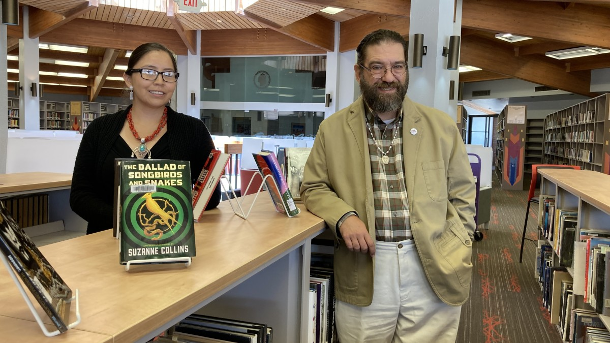 Pictured: Diné College Library faculty in refurbished library.