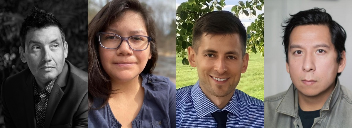 The Forge fellowship project has awarded a cash prize and residency to four Native fellows. (From left to right) They are Oneida designer Chris Cornelius, Menominee writer Jasmine Neosh, Mohican language teacher Brock Schreiber and Ho-Chunk/Pechanga filmmaker Sky Hopinka. (Courtesy images Forge Project)