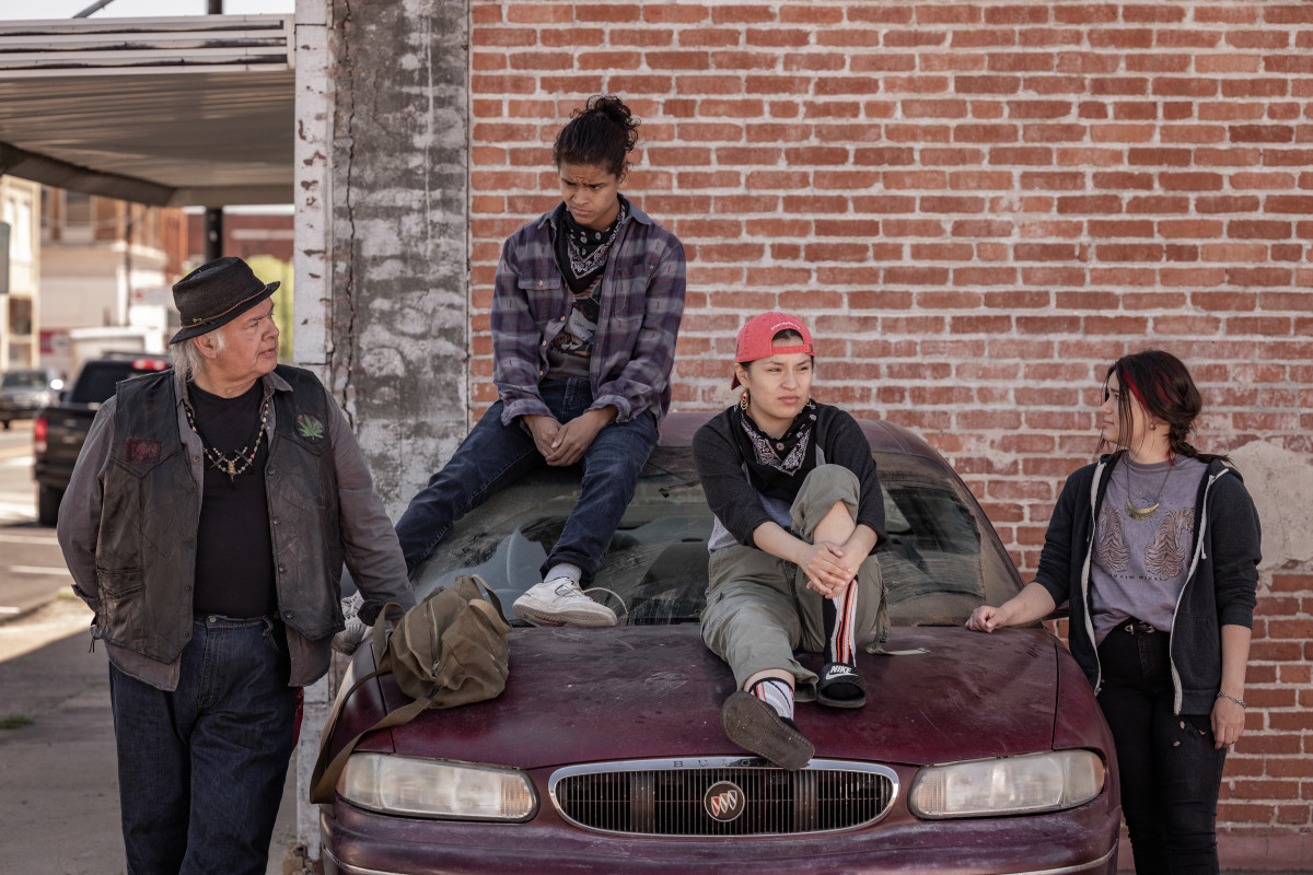 """RESERVATION DOGS """"Uncle Brownie"""" Episode 3 (Airs, Monday, August 16) Pictured: (l-r) Gary Farmer as Uncle Brownie, D'Pharaoh Woon-A-Tai as Bear, Paulina Alexis as Willie Jack, Devery Jacobs as Elora Danan Postoak. CR: Shane Brown/FXCopyright 2021, FX Networks. All rights reserved."""