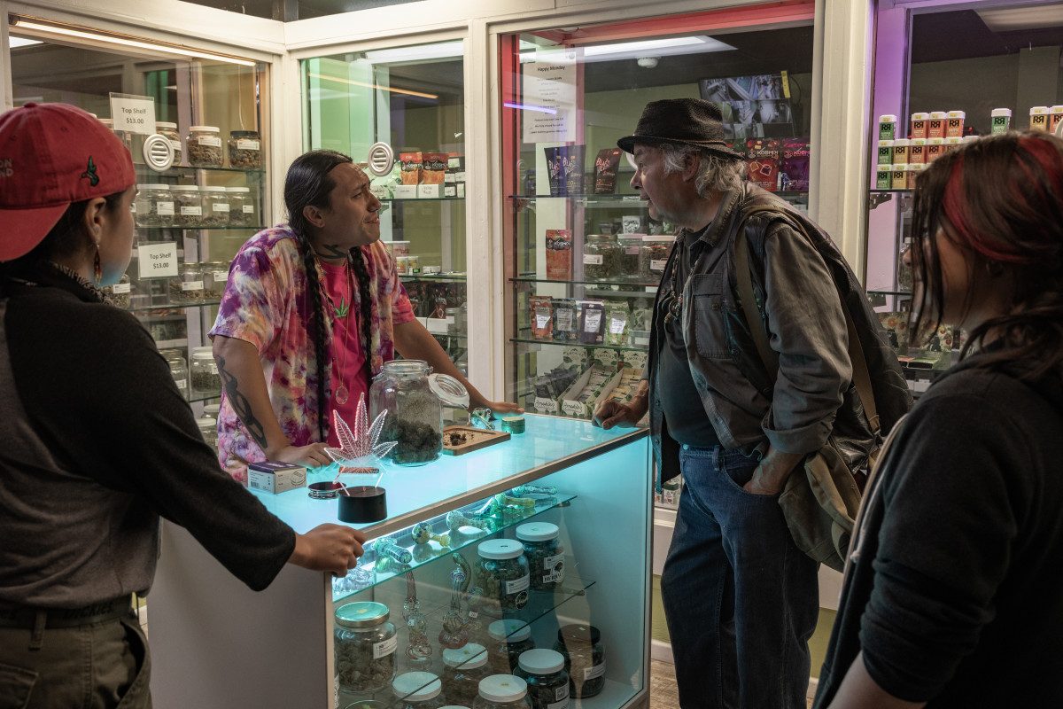 """RESERVATION DOGS """"Uncle Brownie"""" Episode 3 (Airs, Monday, August 16) Pictured: (l-r) Paulina Alexis as Willie Jack, Bobby Wilson as Jumbo, Gary Farmer as Uncle Brownie, Devery Jacobs as Elora Danan Postoak. CR: Shane Brown/FXCopyright 2021, FX Networks. All rights reserved."""