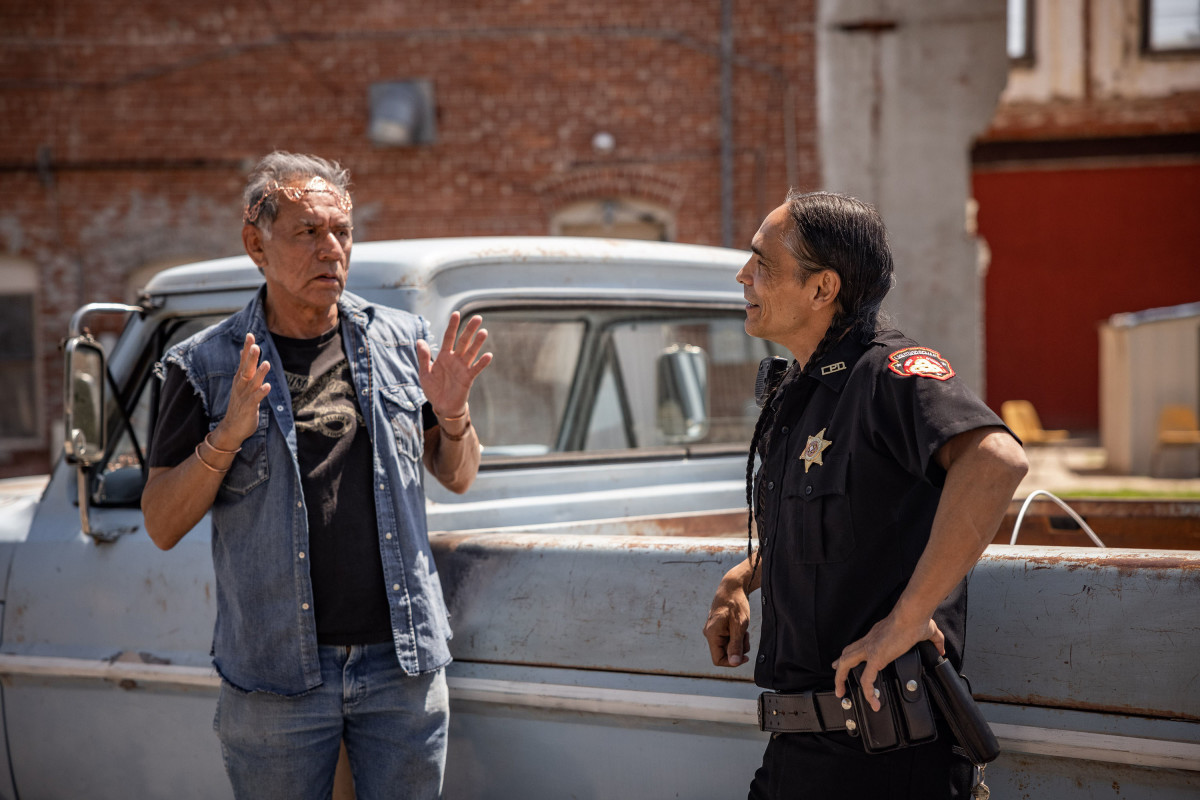 """RESERVATION DOGS """"Come and Get Your Love"""" Episode 5 (Airs, Monday, August 30) Pictured: (l-r) Wes Studi as Bucky, Zahn McClarnon as Big. CR: Shane Brown/FXCopyright 2021, FX Networks. All rights reserved."""