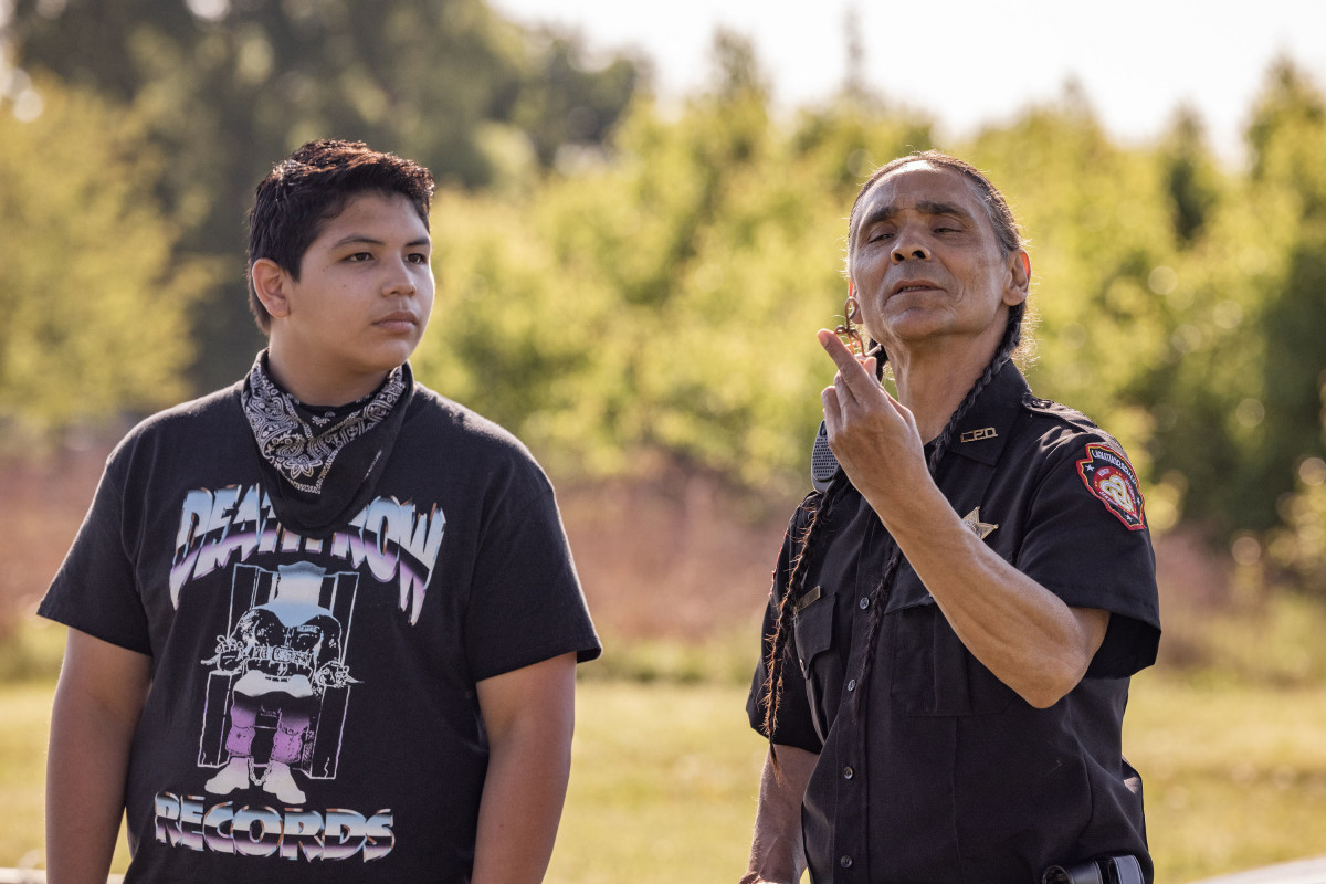 """RESERVATION DOGS """"Come and Get Your Love"""" Episode 5 (Airs, Monday, August 30) Pictured: (l-r) Lane Factor as Cheese, Zahn McClarnon as Big. CR: Shane Brown/FXCopyright 2021, FX Networks. All rights reserved."""