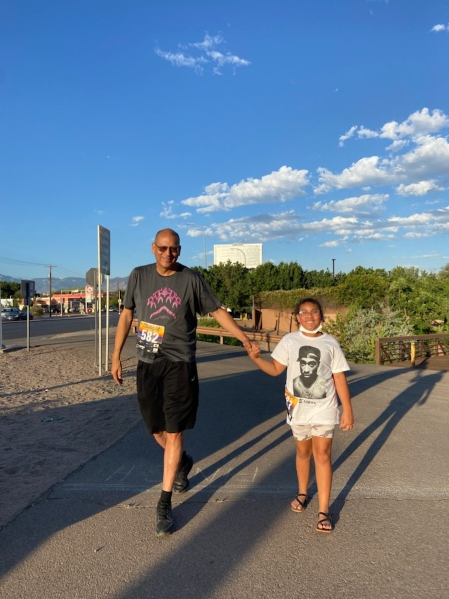Longtime educator, coach and Indigenous games instructor Dan Ninham, Oneida, of Red Lake, Minnesota, who writes regularly for Indian Country Today, participates in the Running Medicine sessions with his granddaughter Saniya Joy Ninham in the summer of 2021. (Photo courtesy of Arlene Espinosa-Armijo)